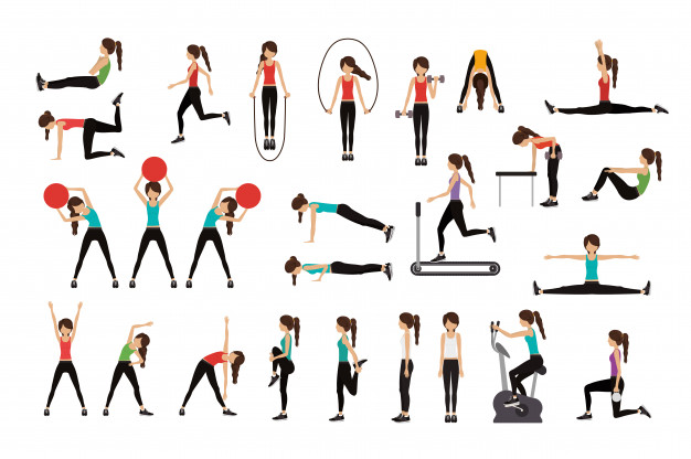 People doing different exercises