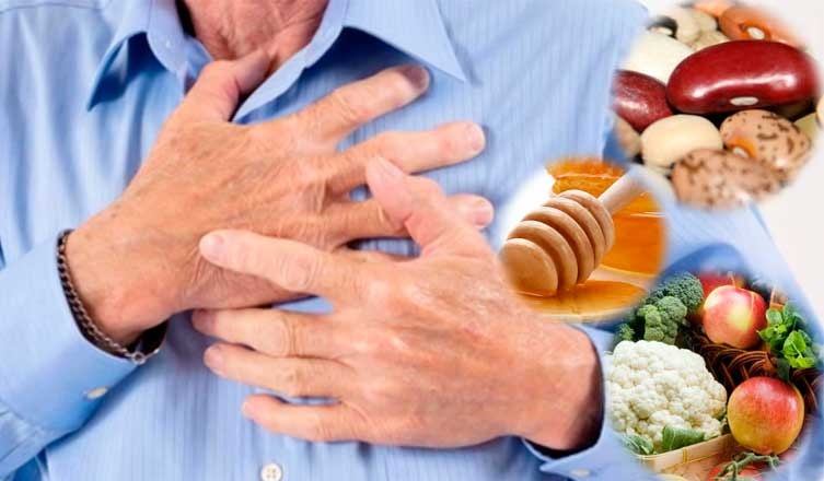 person clutching chest with healthy foods on the side of the picture